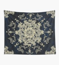 Pale Gold Floral Design On A Textured Blue Background Wall Tapestry