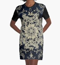 Pale Gold Floral Design On A Textured Blue Background Graphic T-Shirt Dress