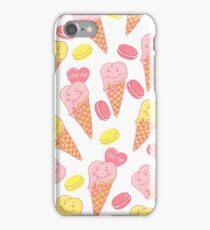 Funny ice cream and macaroons. iPhone Case/Skin