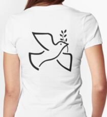 PEACE, DOVE,  Olive Branch, On White T-Shirt