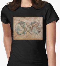 Camiseta entallada para mujer Mapa mundial a mediados del siglo XIX