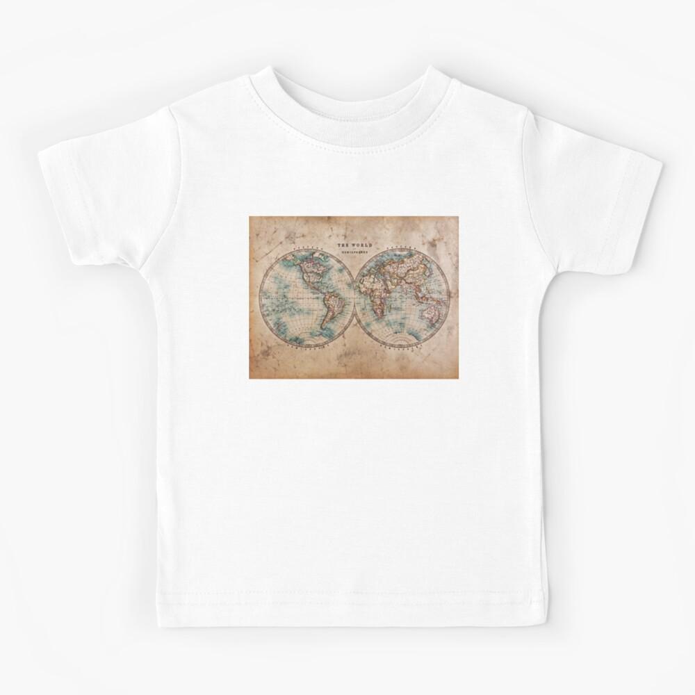 World Map Mid 1800s Kids T-Shirt