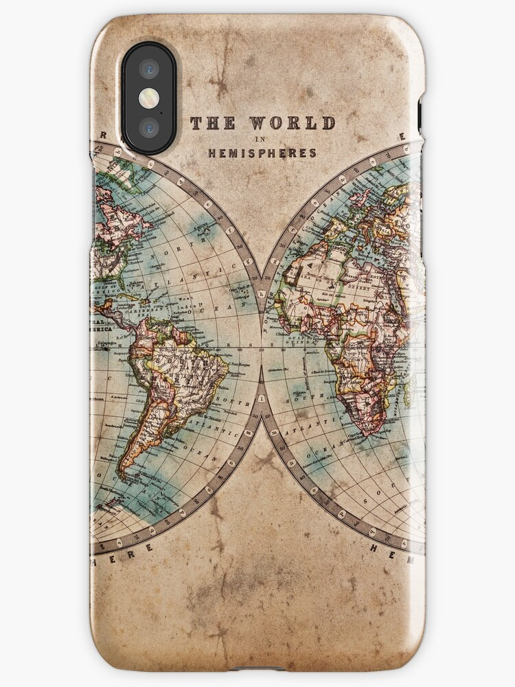 World Map Mid S IPhone Cases Covers By BoyWithHat Redbubble - 1800s world map