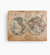 World Map Mid 1800s Canvas Print