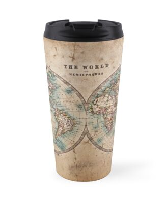 World map mid 1800s travel mugs by boy with hat redbubble world map mid 1800s by boy with hat gumiabroncs