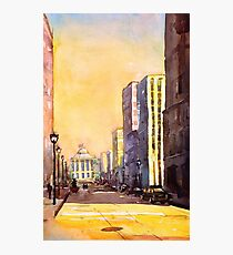 Raleigh, NC downtown- watercolor painting Photographic Print