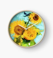 Three Sunflowers in a Vase by Van Gogh Clock