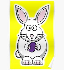 Rabbit, Cartoon, Easter Bunny, on Yellow Poster