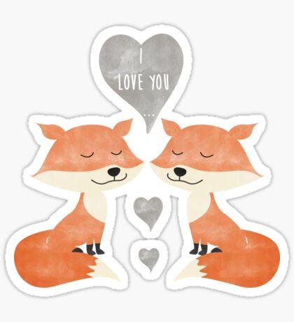 Loving Fox Couple - I love you - Happy Valentines Day Sticker