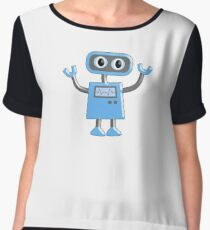 Robot, Toy, Blue, 1950s, Robotics, Fun, Cartoon Women's Chiffon Top