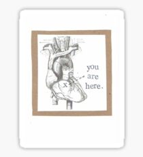 You Are Here Anatomical Heart Sticker