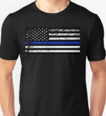 Police Styled Distressed Horizontal American Flag  T-Shirt