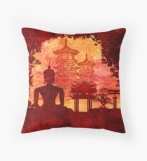 Grunge Buddha and temples Throw Pillow
