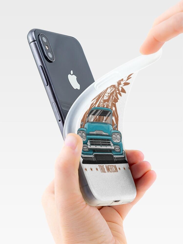 Alternative Ansicht von Wahrer Amerikaner. Chevy Apache Pickup Truck (Aquamarin) iPhone-Hüllen & Cover