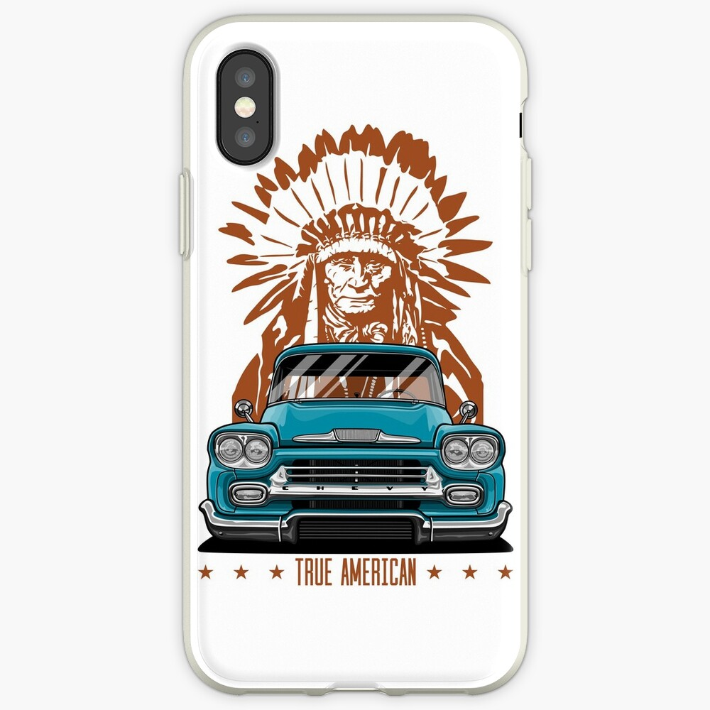 Wahrer Amerikaner. Chevy Apache Pickup Truck (Aquamarin) iPhone-Hüllen & Cover