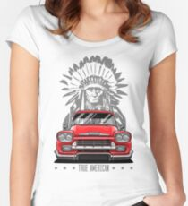 True American. Chevy Apache Pickup Truck (red) Women's Fitted Scoop T-Shirt