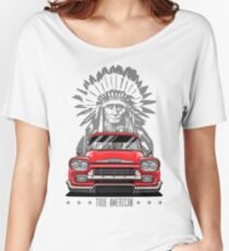 True American. Chevy Apache Pickup Truck (red) Women's Relaxed Fit T-Shirt