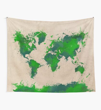 world map 43 Wall Tapestry