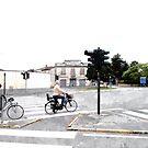 Traffic lights people on bikes and bakery by Giuseppe Cocco