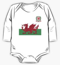 Wales Flag & Crest Football Deluxe Design One Piece - Long Sleeve