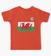 Wales Flag & Crest Football Deluxe Design Kids Tee