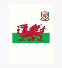 Wales Flag & Crest Football Deluxe Design Art Print