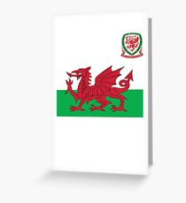Wales Flag & Crest Football Deluxe Design Greeting Card