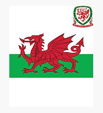 Wales Flag & Crest Football Deluxe Design Photographic Print