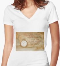 Pocket Watch Time Quote  Women's Fitted V-Neck T-Shirt