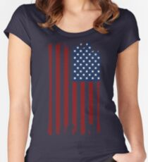 Distressed American Flag Women's Fitted Scoop T-Shirt