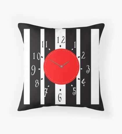 Black and White Clock  Throw Pillow