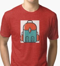 Simple Blue and Red Backpacking Tri-blend T-Shirt