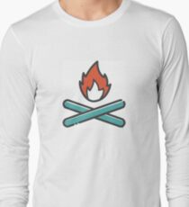 Simple Red and Blue Campfire Long Sleeve T-Shirt