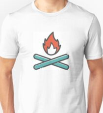 Simple Red and Blue Campfire Unisex T-Shirt