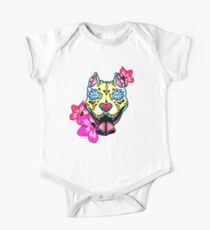 Day of the Dead Slobbering Pit Bull Sugar Skull Dog Kids Clothes