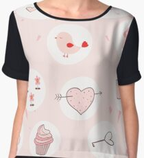 Pink heart with cute drawings Chiffon Top
