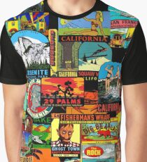 Vintage Travel Decals of California Graphic T-Shirt