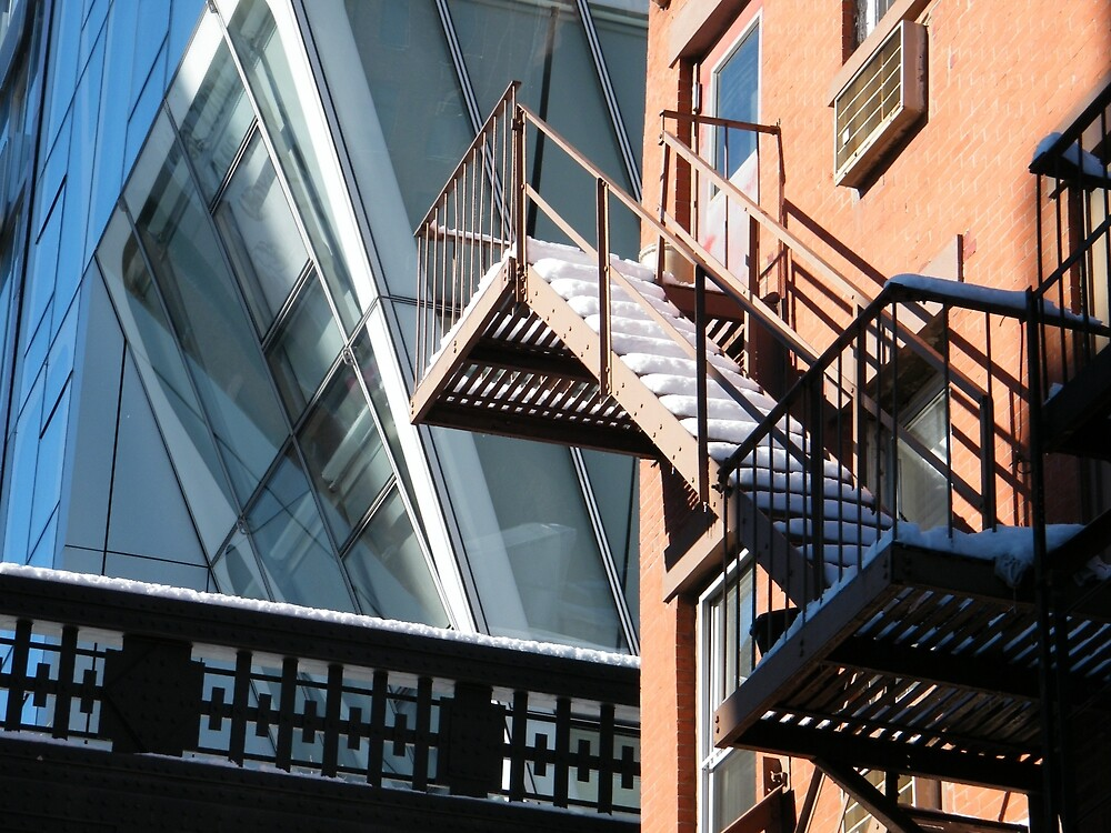 A Fire Escape, The High Line, and An Apartment Building After a Snow, New York City  by lenspiro