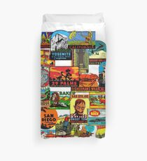 Vintage Travel Decals of California Duvet Cover