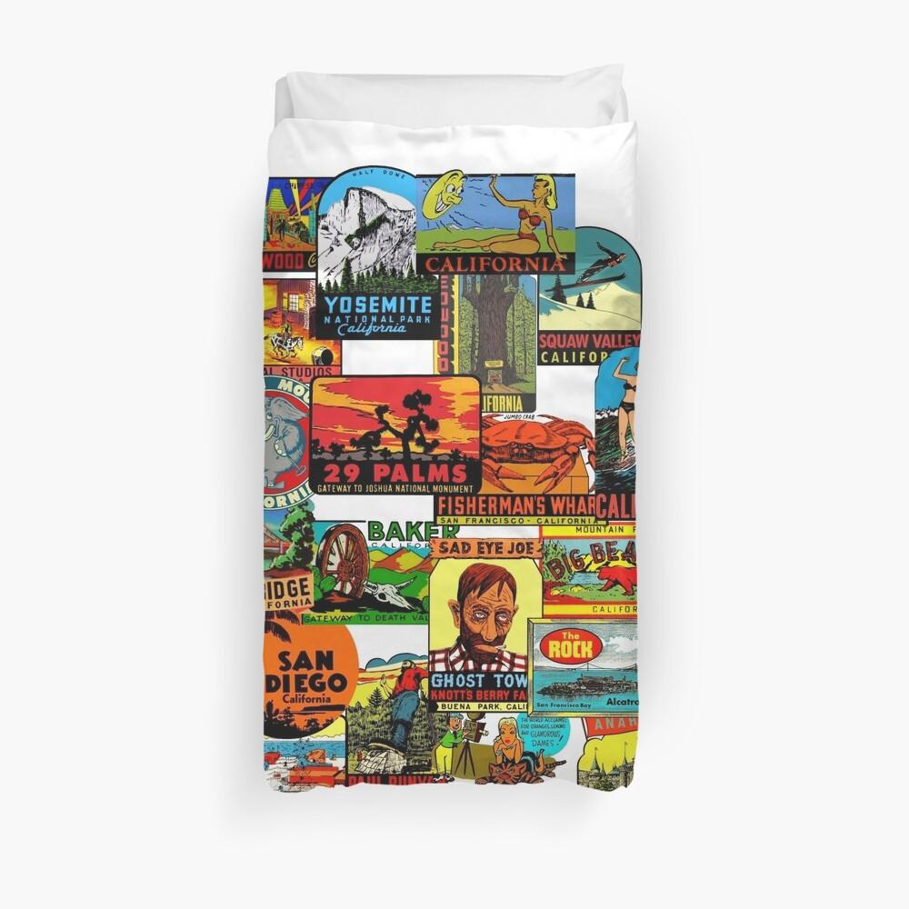 Vintage Travel Decals of California Duvet Cover