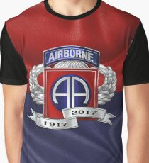 82nd Airborne Division 100th Anniversary Insignia over Division Flag Graphic T-Shirt