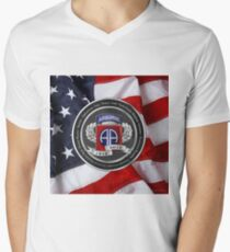 82nd Airborne Division 100th Anniversary Medallion over American Flag T-Shirt