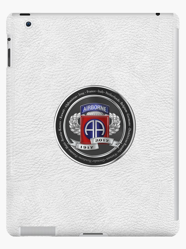 df859b74 82nd Airborne Division 100th Anniversary Medallion over White Leather