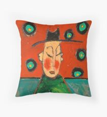 Monk red and turquoise Throw Pillow