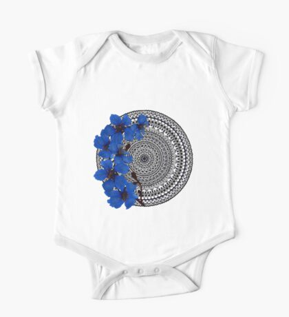 blue magnolia mandala Kids Clothes