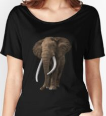 African elephant on isolated background. Women's Relaxed Fit T-Shirt