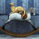 Cat on rocking horse by Roberta Angiolani