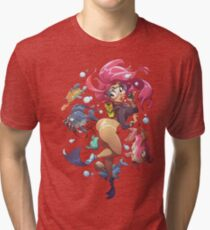 Cute Toon Pinup - Zodiac Pisces Tri-blend T-Shirt