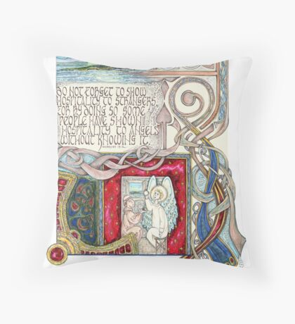 Hospitality to Angels Throw Pillow