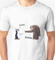 Sloth and Penguin playing rock paper scissors- funny sloth shirt T-Shirt